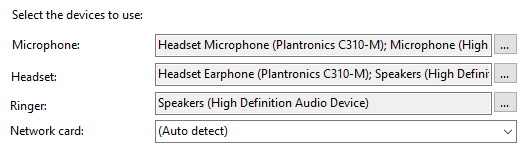 Audio devices options