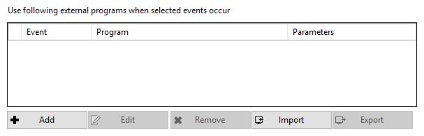 Event details external programs window