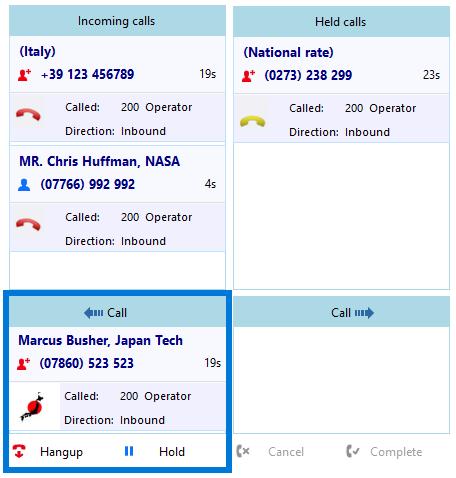 Call handling example