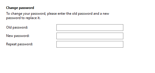 Call settings Password tab