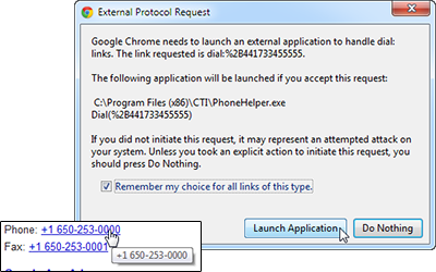 External protocols message and a converted phone number example