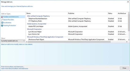 Internet Explorer Manage Add-Ons window