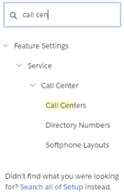 Call Centers link in Customize section