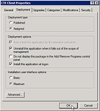 Deployment tab
