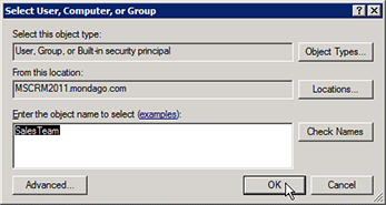 Select User, Computer, or Group window